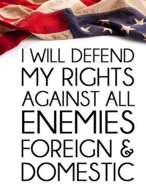 I will defend my rights against all enemies foreign and domestic. Now if they'll have the balls to face me on any field of battle we'll see who lives under what law. RabidWolf