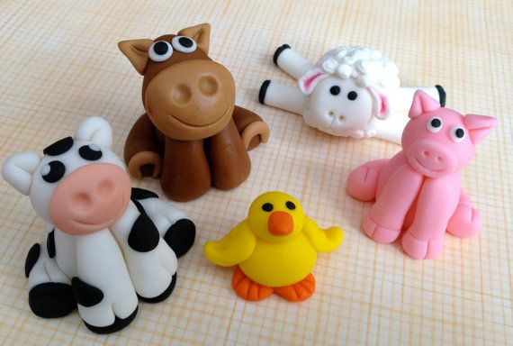 Fondant Farm Animal Cake Toppers  Set of 5 by SweetIdeaCreations, $43.00