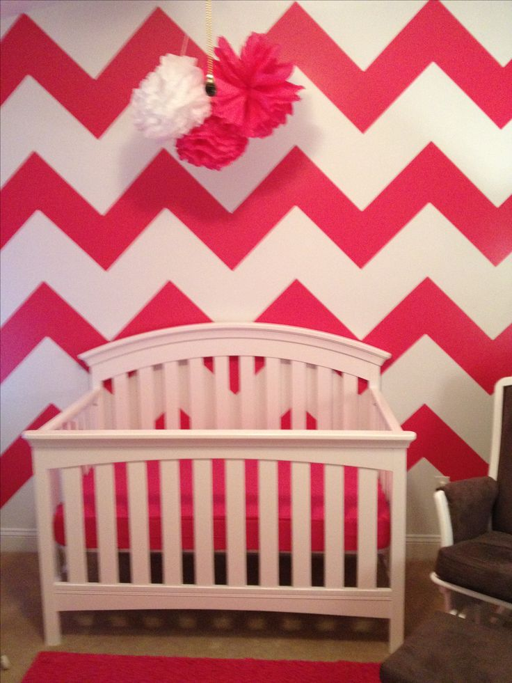 Idea for a baby girl's room - chevron in black and white