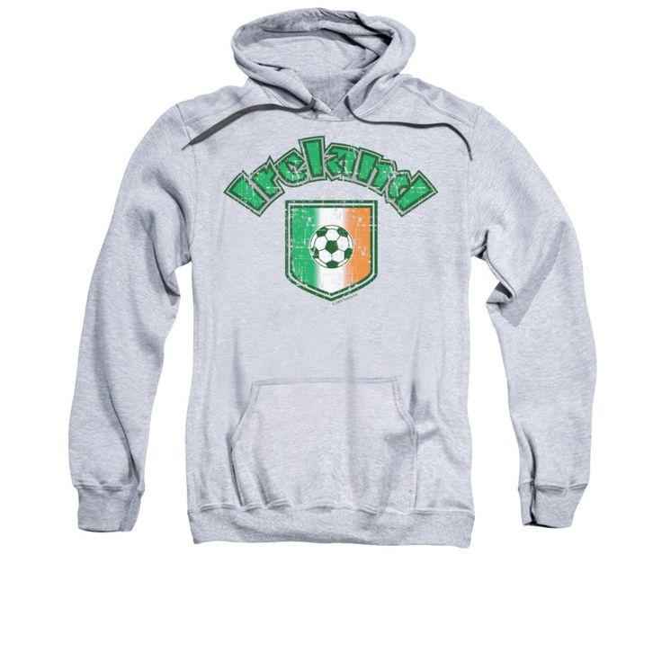 Ireland With Soccer Flag Adult Pull-Over Hoodie