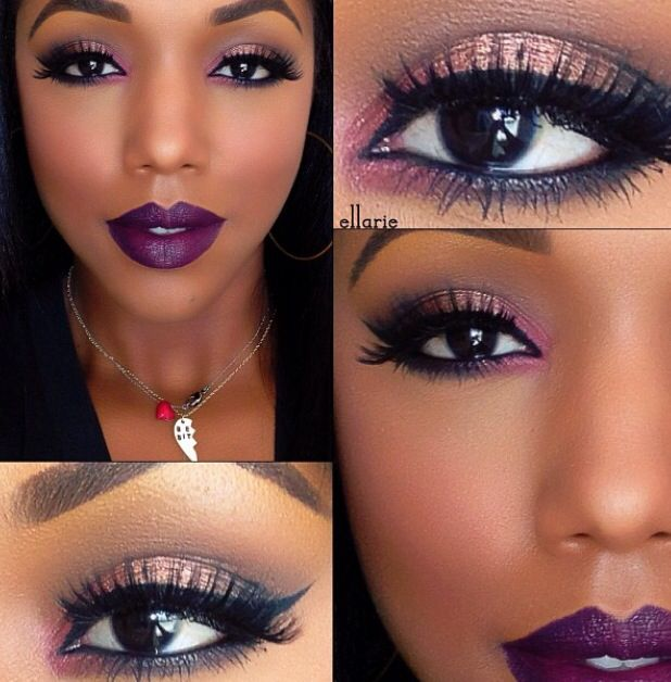 Purple and gold makeup