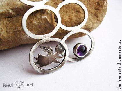 "sterling silver earrings  handmade Серебряные серьги ""ангел""серьги из серебра,минимализм - бежевый,серебро"