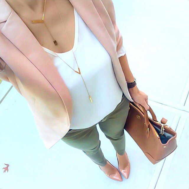Nice colors. I like the fitted v shirt, longer blazer, and fun colored fitted pants. NO heels though need flats. (too many broken feet in my past)