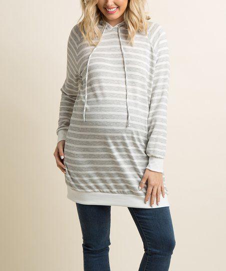 PinkBlush Maternity Gray Stripe Maternity Hoodie | zulily