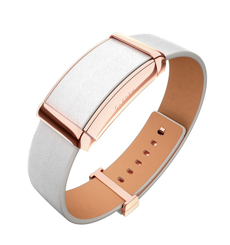 Sona: Connected Bracelet, Rose Gold & White Leather.   Wearable technology to optimize mind and body performance. Connects to the Caeden App to track your Resonance, Active Time, and heart health. Crafted with genuine full grain leather and premium metal hardware. For iOS.