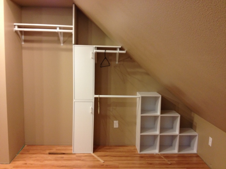 Attic Closet Storage, Several Hanging Spots For Garments Of Different  Lengths, Cubbies For Shoes