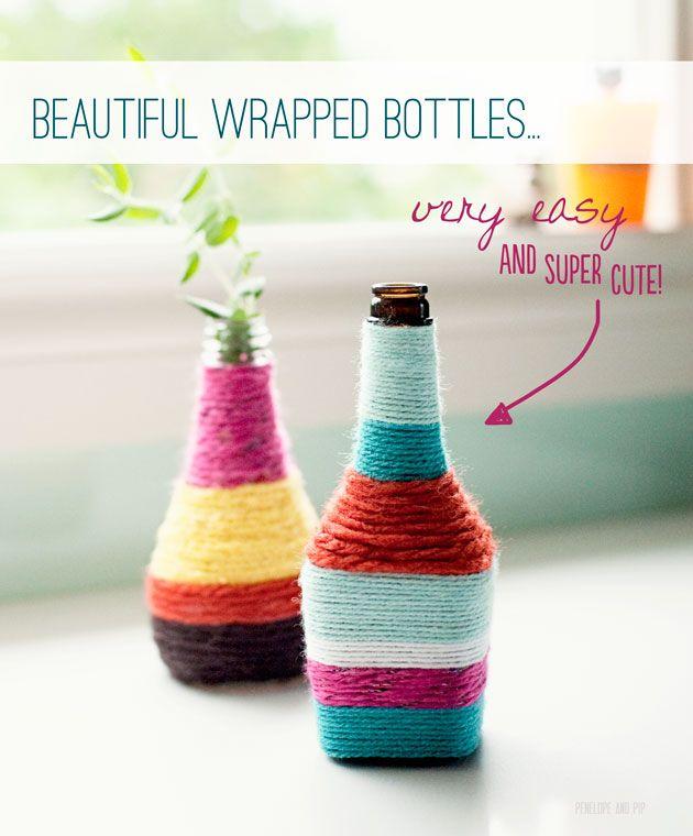 DIY: modpodge + yarn + bottle = pretty!