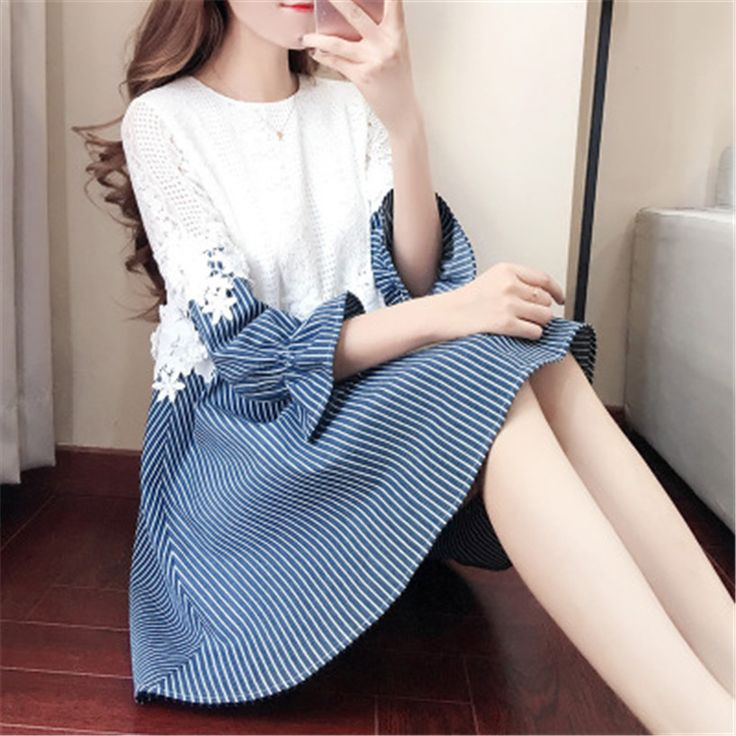 Autumn Winter Sweet Striped Dress Splicing Lace Dresses For Girls Casual Clothing Party Dating Students Preppy Style