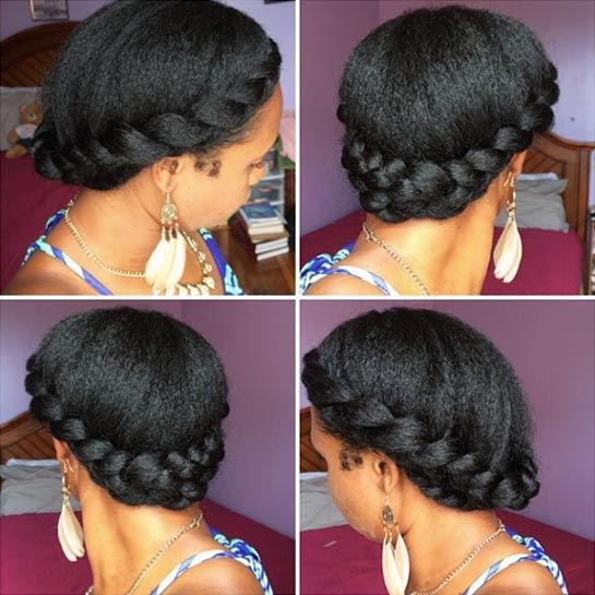 """Goddess Braid Transitioning phase: nine months to one year in Some women worry that natural hair is """"not work-appropriate."""" We think that's a load of BS, but if your coworkers aren't as enlightened as you, this wraparound braid is an elegant and finished 'do that will work in any office environment. """"After this style, you can do a rod set or twist-out, to start to wear it curly,"""" Latimer says. For similar tutorials, check out Black Girl with Long Hair."""