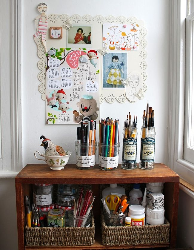 studio organizing tips (photo from sweetbestiary.com)