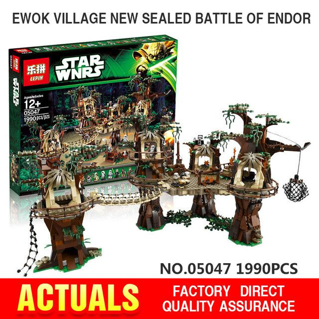 Free shipping 1990pcs Lepin 05047 Star Wars Ewok Village Building