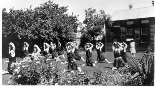 Students exercising, Malvern Business College, Wattletree Road, ca. 1930.