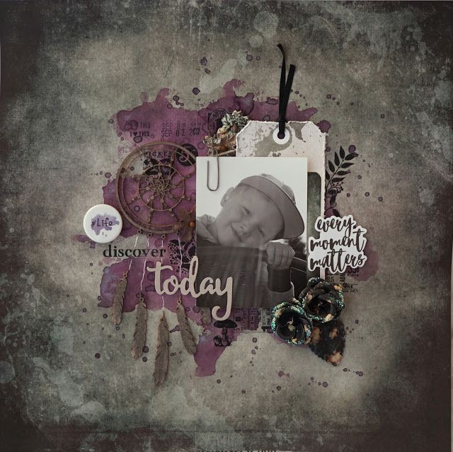 Sara Kronqvist - Saras pysselblogg: Discover today | Scrapbook layout in darker toneswith purple as accent colour