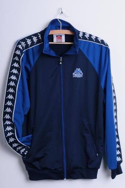 Kappa Mens M Sport Sweatshirt Embroided Logo Navy Blue Tracksuit Top - RetrospectClothes