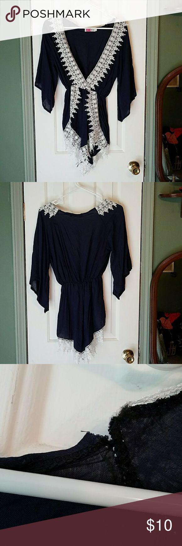❤ Navy jumper NWOT Light weight navy jumper with white lace trim. Perfect for summer and the beach. Never been worn but has slight tears in the upper back at the seams. From a smoke free home Size: Asia large = American small. Other