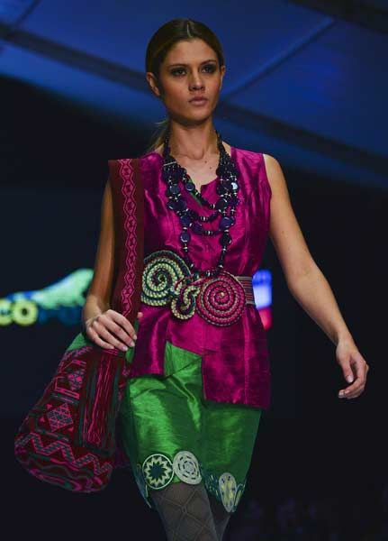 http://moonlionbags.etsy.com/  A model displays a creation by the designers' collective Wayuu during the Bogota Fashion Week, in the Colombian capital, on May 9, 2013.