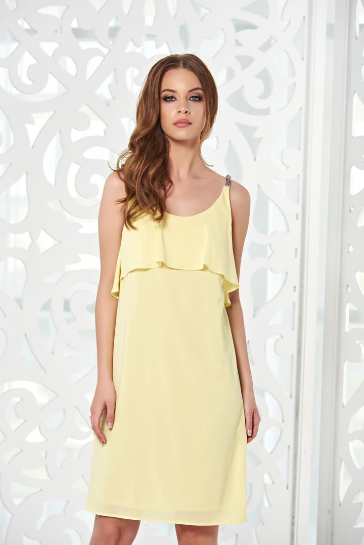 StarShinerS Hot Flame Yellow Dress, small beads embellished details, back zipper fastening, inside lining, airy fabric, voile fabric