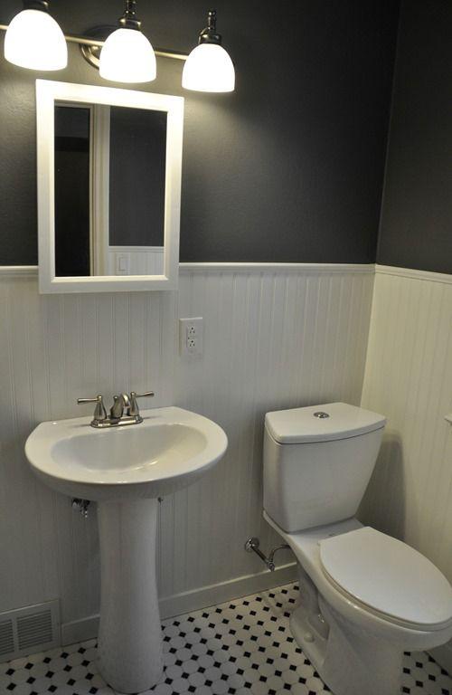 A $350 bathroom makeover using beadboard Bathroom Makeover (Beadboard, Peppercorn, Hex tile)