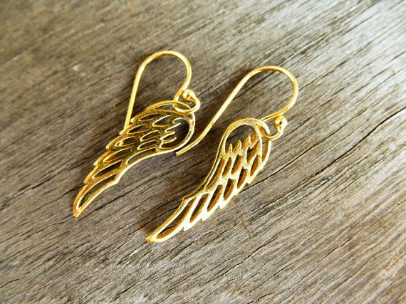 24K GOLD Vermeil Angel Wing Earrings, Guardian Angel Gift Ideas for Her, Friend . Womens Jewelry.  So Cool ‪Charms #‬earrings. ‪#Minimalist‬ #‪jewelry‬.  Just because less is more. https://www.etsy.com/shop/SoCoolCharms
