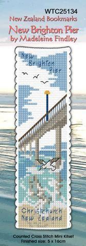 Cross-stitch bookmark - New Brighton Pier