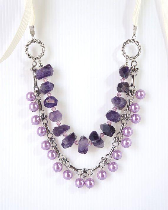 Chunky Amethyst Statement Necklace Purple by TreeCraftDiary
