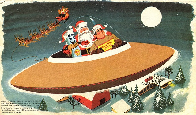 Big love for this business Christmas card from 1959. Full on win. He's traveling in a space ship, with a blue eraser guy, and flying over a mid-century modern house. Wish this was my card!!!!