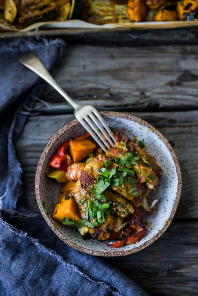 """Baked Tandoori Chicken Bowls with """"clean-out-your-fridge veggies"""" and flavorful tandoori marinade. Delicious, healthy recipe! Vegan Adaptable! 