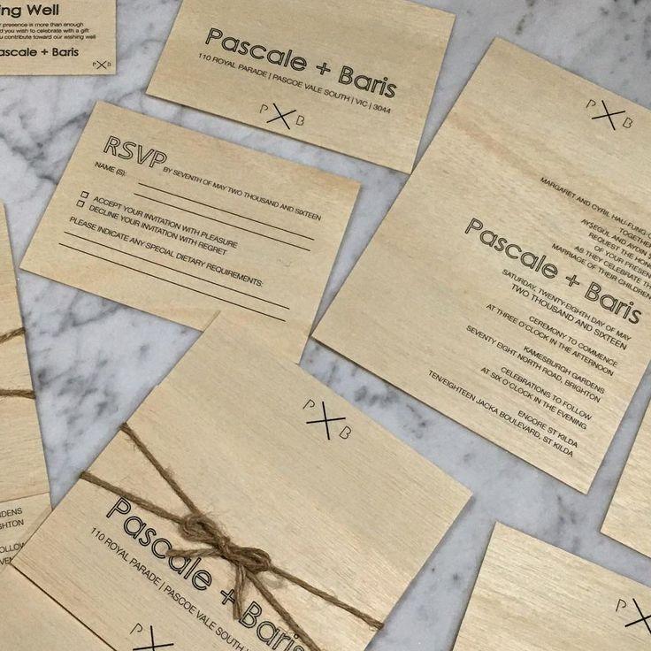 Clean design printed on real #birchwood and #tiedupwithstring.  #printonwood #madeinmelbourne #madewithlove #wedding #invitations