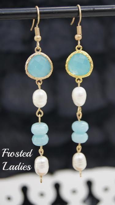❤Life Χειροποίητα Σκουλαρίκια φτιαγμένα με Opal light blue, ακατέργαστα μαργαριτάρια 6x8mm, aquamarine 8mm. Είναι ξεχωριστά επιβλητικά φινετσάτα .