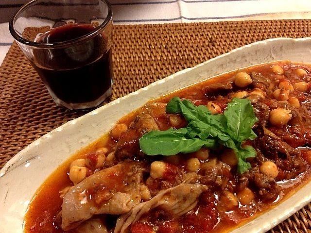 赤ワインとしるぶぷれぇ♪ - 18件のもぐもぐ - 牛スジとヒヨコ豆のトマト煮 by ナナナ