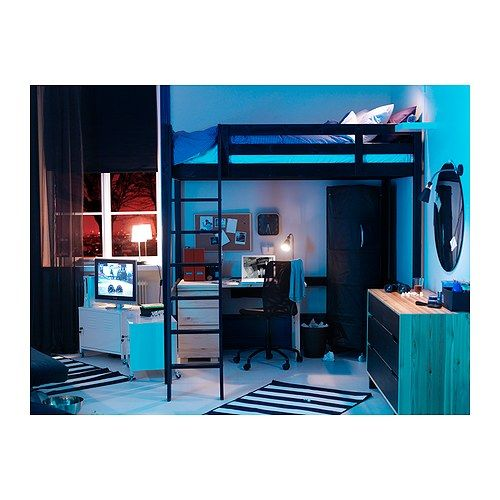 stor loft bed frame black ikea i used to have this bed fantastic space saver if. Black Bedroom Furniture Sets. Home Design Ideas