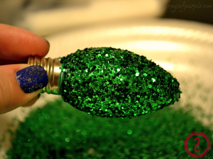 Add a little sparkle to your homemade decorations this holiday season with these Glitter Light-bulb Ornaments.