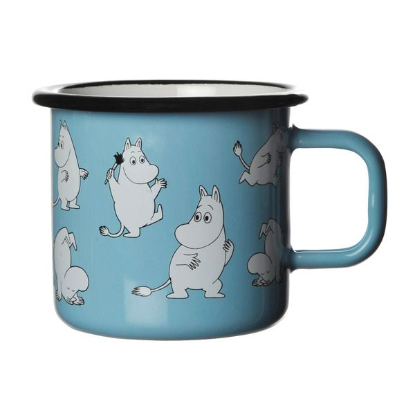 Skyblue mug featuring Moomintroll. Extremly durable and easy to take care of, which makes it perfect for your home. Enjoy your coffee break with Moomin. Muurla combines design with durability in this retro enamel mug.