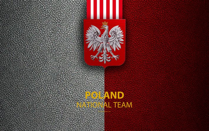 Download wallpapers Poland national football team, 4k, leather texture, coat of arms, emblem, logo, football, Poland