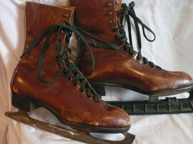 Vintage Brown Leather Skates Made in Sweden Leather Patina for antique Displays