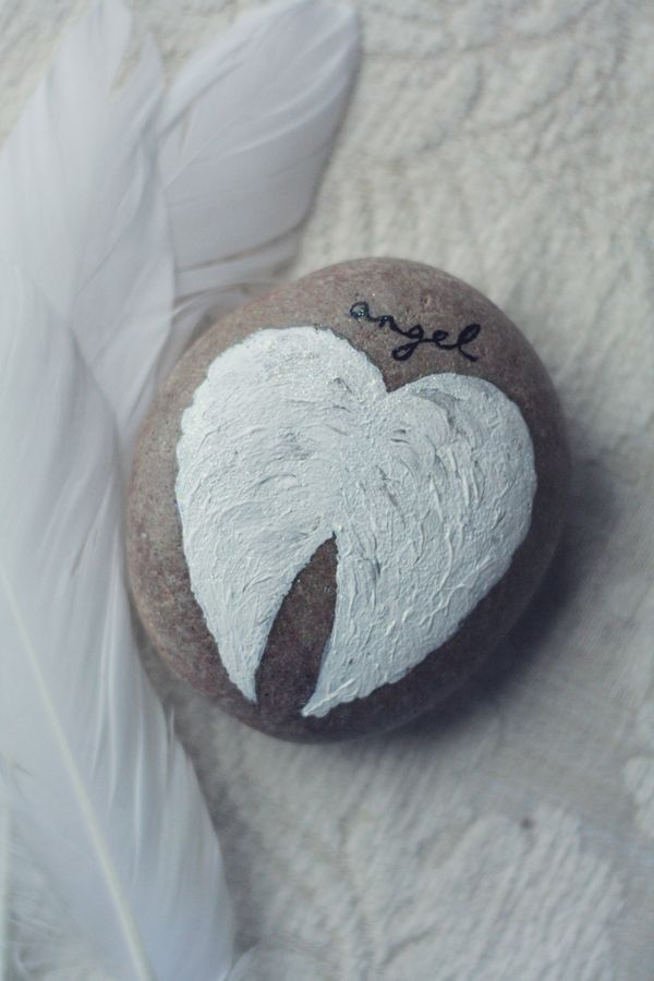 Angel Wings painted on stone