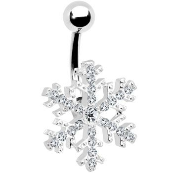 Baby its Cold Outside ... Crystalline Gem Snowflake Belly Ring #piercing #bodymodification #jewelry $11.99
