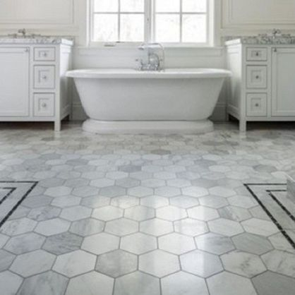 25 best ideas about hexagon tile bathroom on pinterest hex tile subway tile bathrooms and Marble hex tile bathroom floor