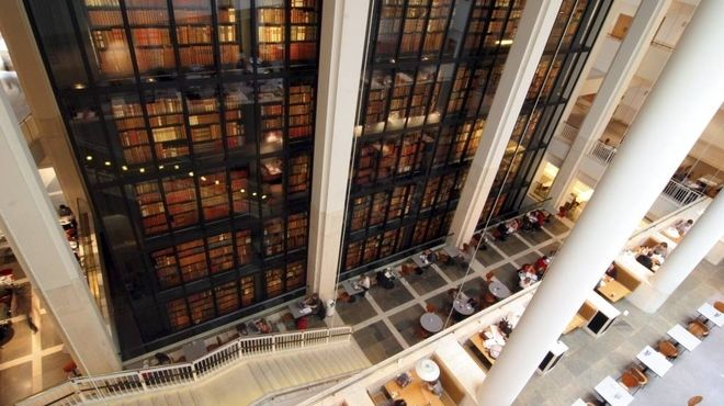 British Library - Here, some of the most famous written and printed items in the world are displayed, and you might see the Lindisfarne Gospels, Shakespeare's first Folio, Handel's Messiah, the Gutenberg Bible, drafts of the Magna Carta and the Beatles' manuscripts.