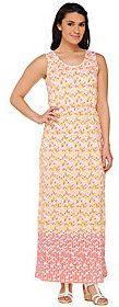 As Is Liz Claiborne New York Reg. Geo Border Print Maxi Dress