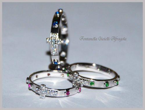 Anello Corona Santo Rosario argento con croce zirconi bianchi e grani colorati