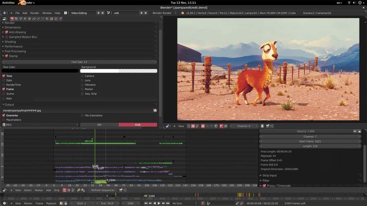 Blender es un programa de código abierto y gratuito que, entre otras muchas aplicaciones, tiene un completo editor de vídeo. Éste permite desde acciones básicas cómo cortar y pegar secuencias de vídeos, hasta funciones más complejas.