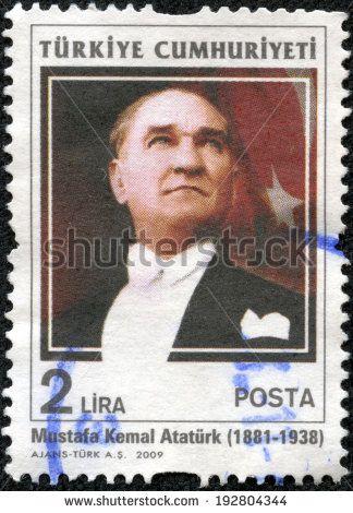 TURKEY - CIRCA 2009: A stamp printed by Turkey, shows president Kemal Ataturk, circa 2009. - stock photo