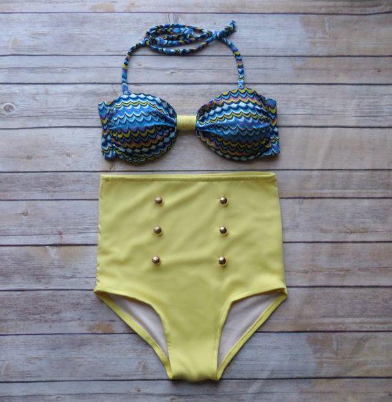Bandeau Bikini  Vintage Style High Waisted Pinup par Bikiniboo, $48.00
