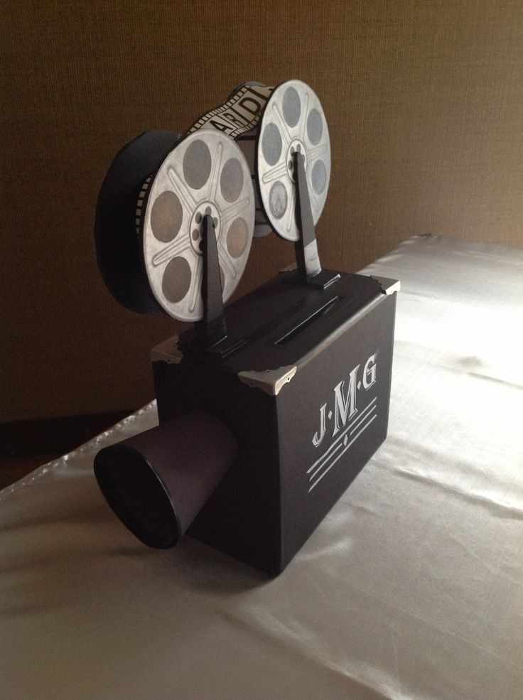 how to make film canister wedding invitations%0A movie camera made from foam core and metal accents for cards  Wedding