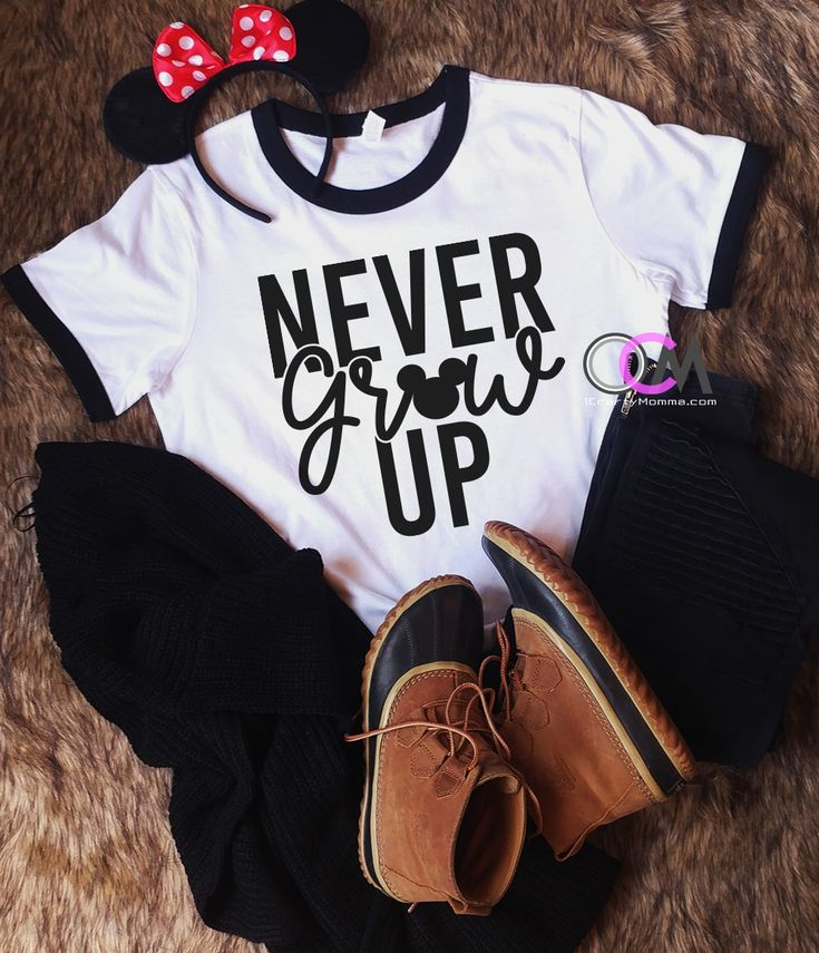 Never Grow Up Disney Shirt, Disney Vacation Shirt, Family Disney Shirts Ladies Disney Shirt- Ringer 22.99