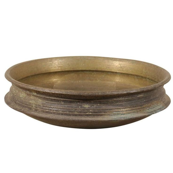 Southern Indian Uruli Vessel of Heavy Bell Metal in Aged Bronze and Gold Color For Sale