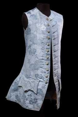 Sleeveless Waistcoat, ca. 1760, Netherlands, Blue damascene grosgrain silk, strengthened with horsehair.    Blauwe gedamasceerde ripszijde, verstevigd met paardenhaar. Schenking 1935.    Dit object is nu niet in het museum te zien
