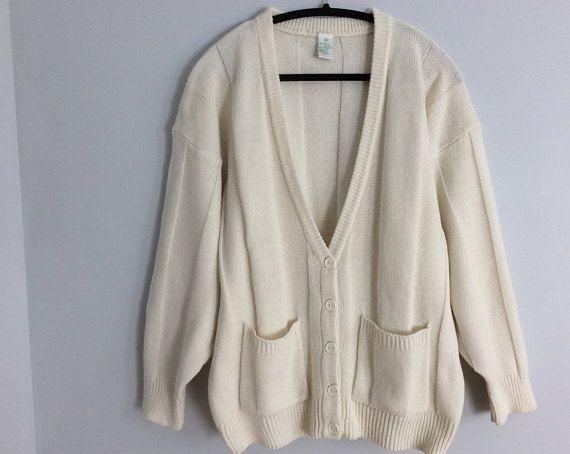 Vintage 90s Off White Cream Oversize Cardigan Size XXL