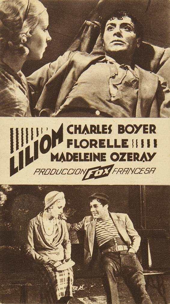 """Programa de mano de cine de la película """"Liliom"""", estrenada en España en el año 1934"""